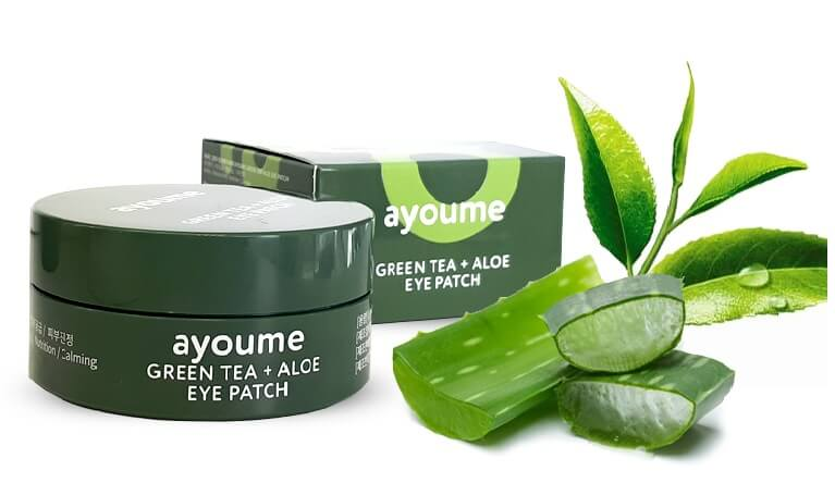 патчи с экстрактом алоэ и зеленого чая Ayoume Green Tea + Aloe Eye Patch